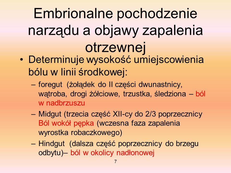 7 Embrionalne pochodzenie narządu a objawy zapalenia otrzewnej Determinuje wysokość umiejscowienia bólu w linii środkowej: –foregut (żołądek do II czę