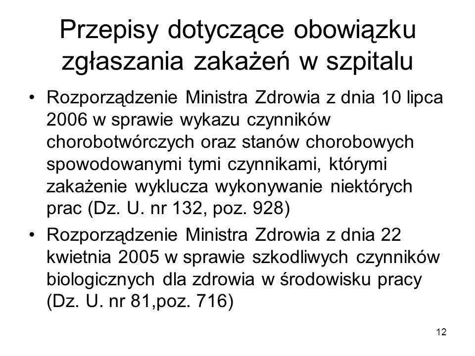 12 Przepisy dotyczące obowiązku zgłaszania zakażeń w szpitalu Rozporządzenie Ministra Zdrowia z dnia 10 lipca 2006 w sprawie wykazu czynników chorobot