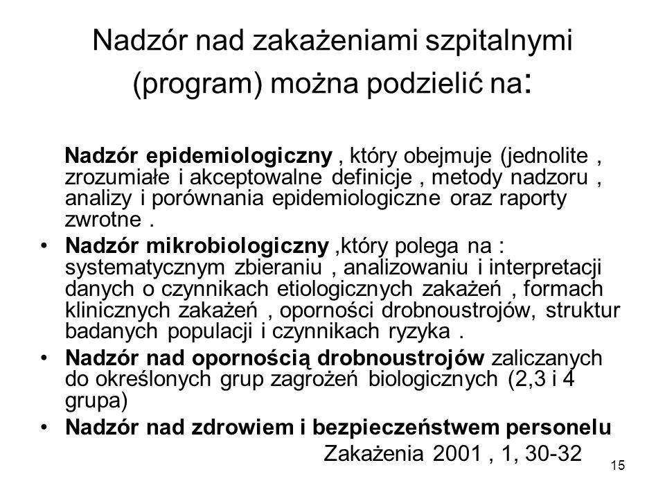 15 Nadzór nad zakażeniami szpitalnymi (program) można podzielić na : Nadzór epidemiologiczny, który obejmuje (jednolite, zrozumiałe i akceptowalne def