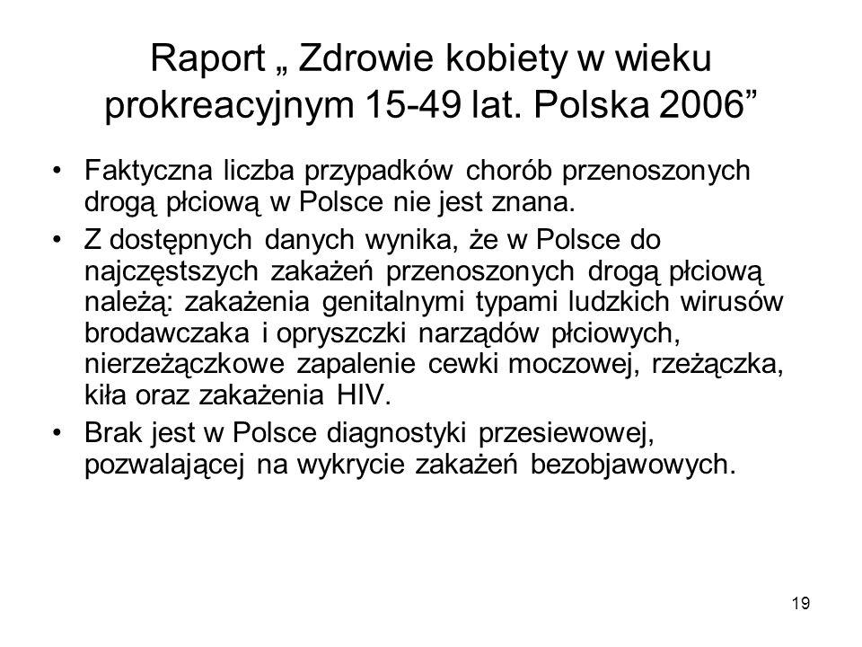 19 Raport Zdrowie kobiety w wieku prokreacyjnym 15-49 lat. Polska 2006 Faktyczna liczba przypadków chorób przenoszonych drogą płciową w Polsce nie jes