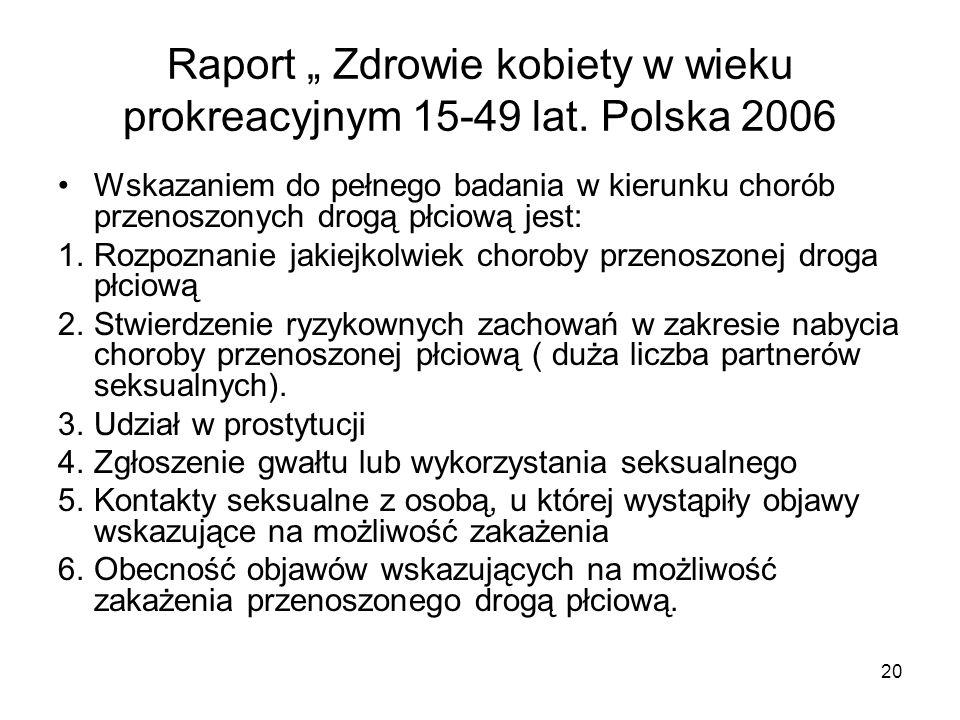 20 Raport Zdrowie kobiety w wieku prokreacyjnym 15-49 lat. Polska 2006 Wskazaniem do pełnego badania w kierunku chorób przenoszonych drogą płciową jes