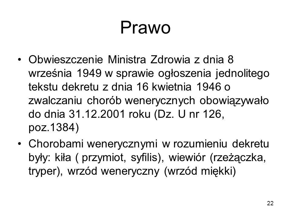 22 Prawo Obwieszczenie Ministra Zdrowia z dnia 8 września 1949 w sprawie ogłoszenia jednolitego tekstu dekretu z dnia 16 kwietnia 1946 o zwalczaniu ch
