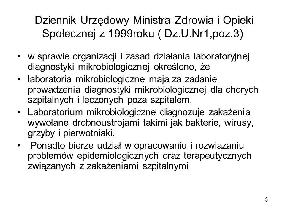 3 Dziennik Urzędowy Ministra Zdrowia i Opieki Społecznej z 1999roku ( Dz.U.Nr1,poz.3) w sprawie organizacji i zasad działania laboratoryjnej diagnosty