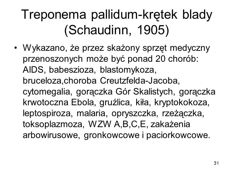 31 Treponema pallidum-krętek blady (Schaudinn, 1905) Wykazano, że przez skażony sprzęt medyczny przenoszonych może być ponad 20 chorób: AIDS, babeszio