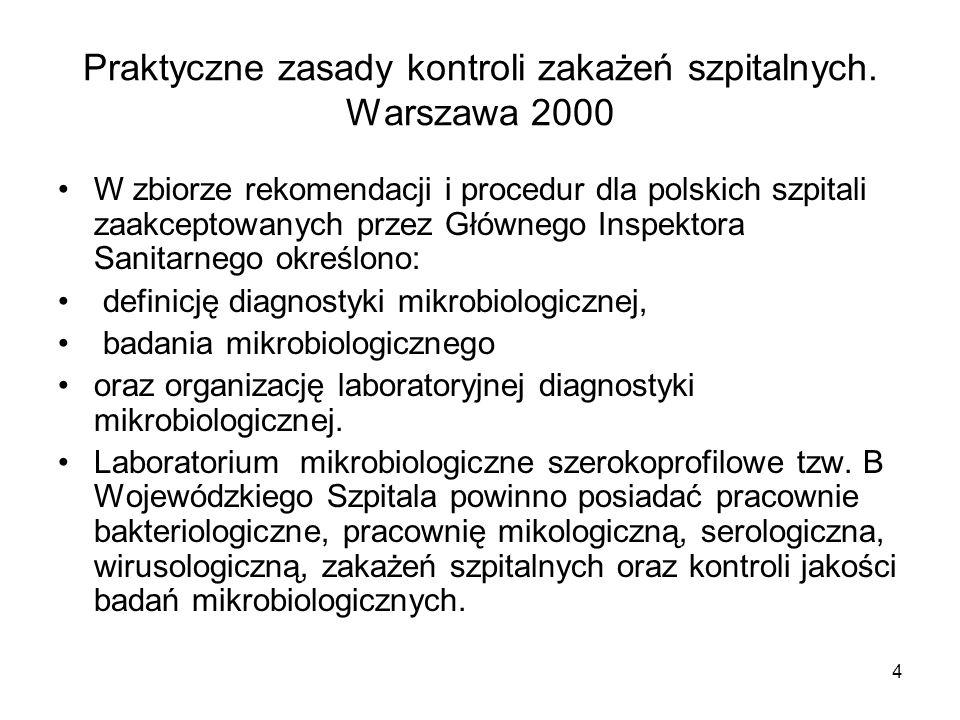 4 Praktyczne zasady kontroli zakażeń szpitalnych. Warszawa 2000 W zbiorze rekomendacji i procedur dla polskich szpitali zaakceptowanych przez Głównego