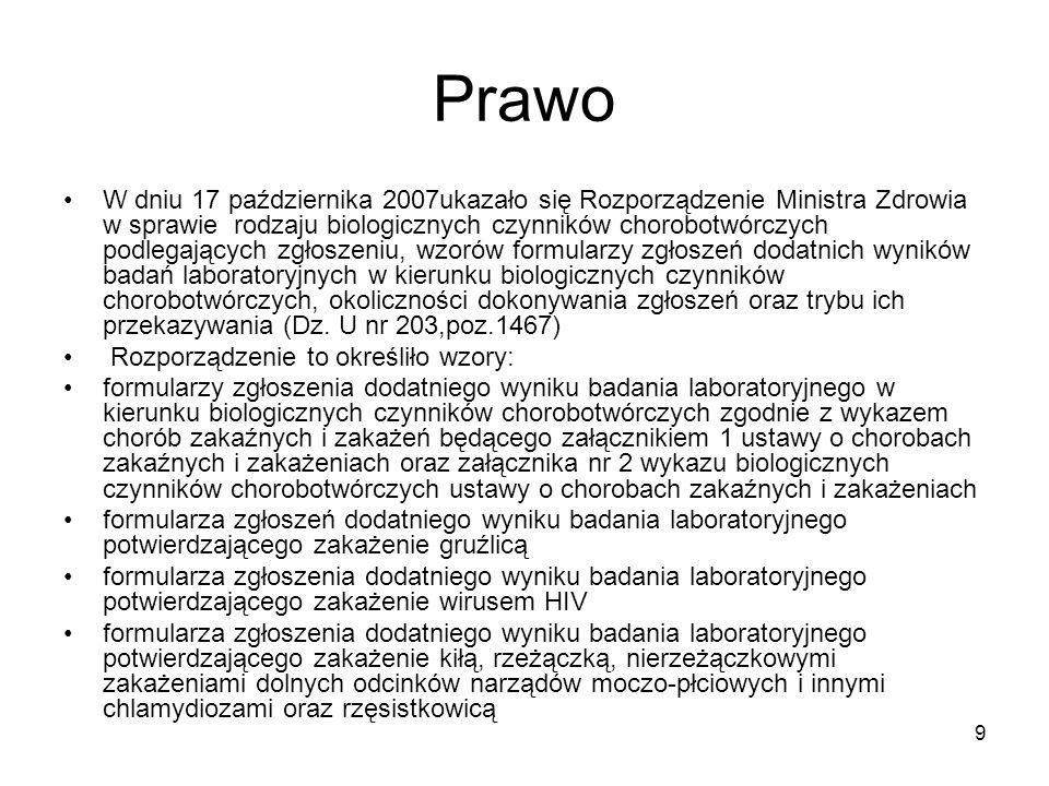 9 Prawo W dniu 17 października 2007ukazało się Rozporządzenie Ministra Zdrowia w sprawie rodzaju biologicznych czynników chorobotwórczych podlegającyc