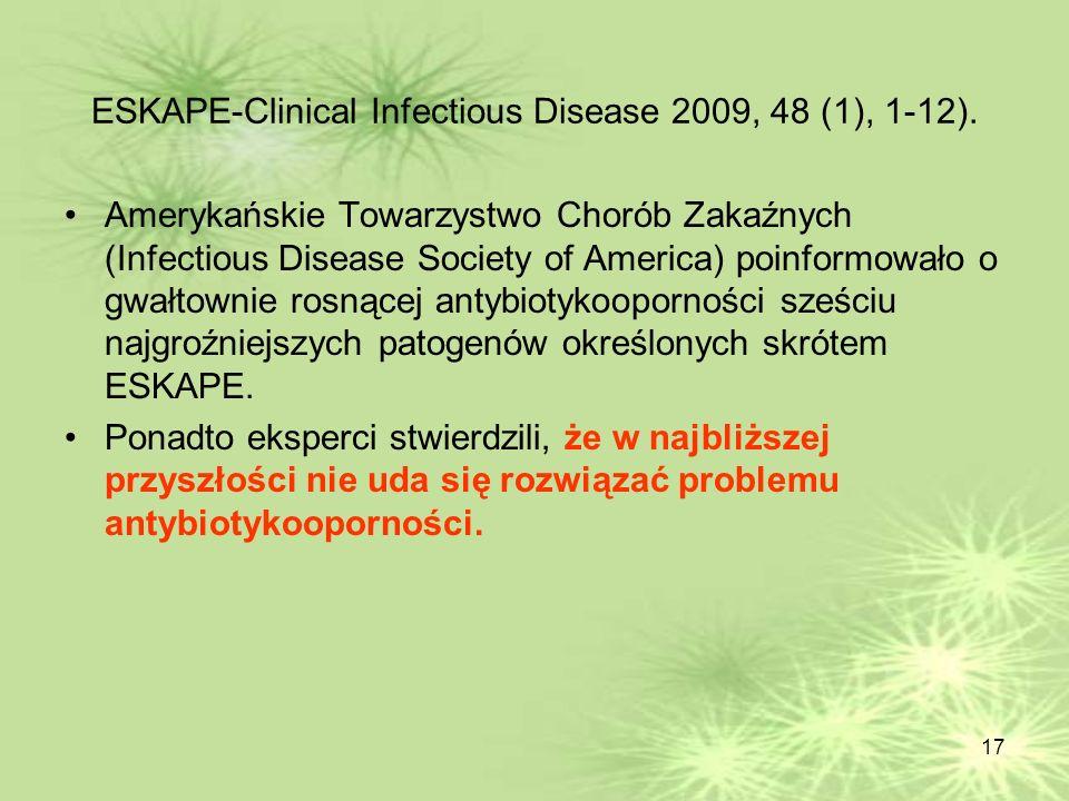 17 ESKAPE-Clinical Infectious Disease 2009, 48 (1), 1-12). Amerykańskie Towarzystwo Chorób Zakaźnych (Infectious Disease Society of America) poinformo