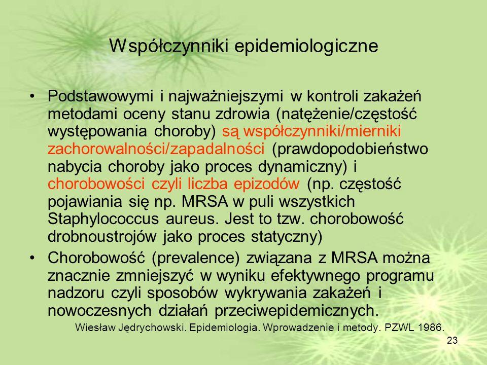 23 Współczynniki epidemiologiczne Podstawowymi i najważniejszymi w kontroli zakażeń metodami oceny stanu zdrowia (natężenie/częstość występowania chor