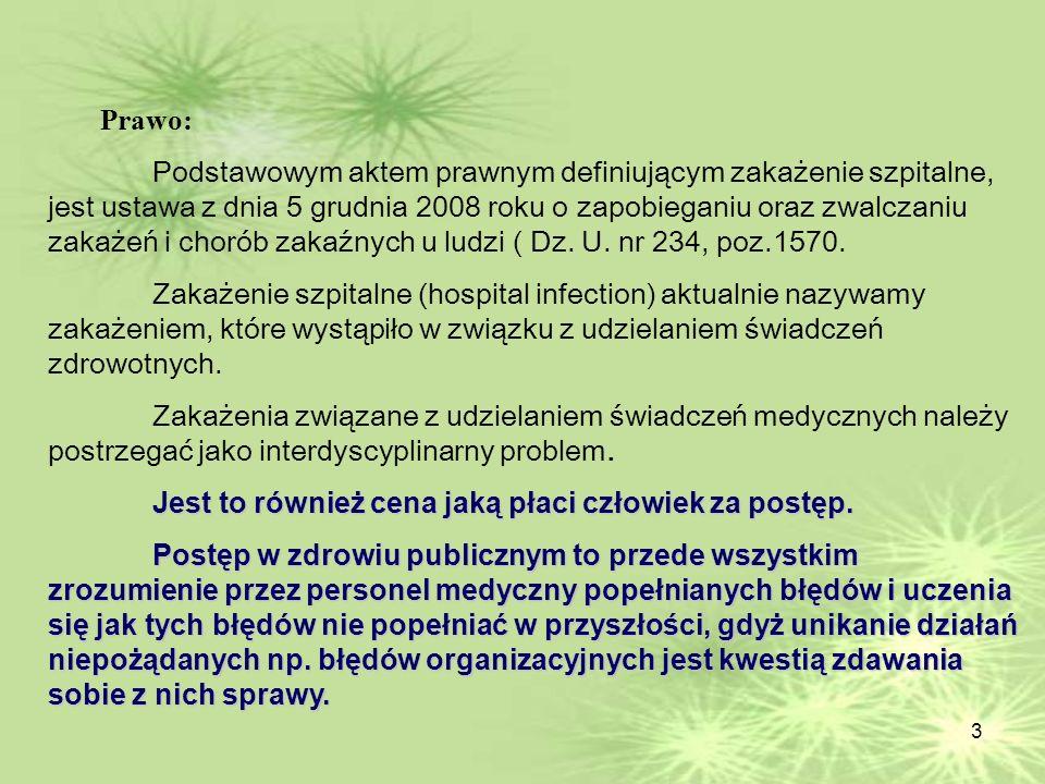 3 Prawo: Podstawowym aktem prawnym definiującym zakażenie szpitalne, jest ustawa z dnia 5 grudnia 2008 roku o zapobieganiu oraz zwalczaniu zakażeń i c