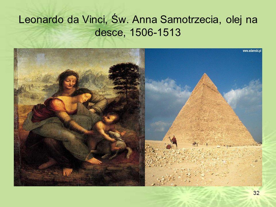 32 Leonardo da Vinci, Św. Anna Samotrzecia, olej na desce, 1506-1513