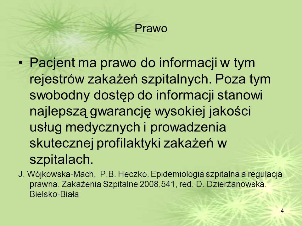 4 Prawo Pacjent ma prawo do informacji w tym rejestrów zakażeń szpitalnych. Poza tym swobodny dostęp do informacji stanowi najlepszą gwarancję wysokie