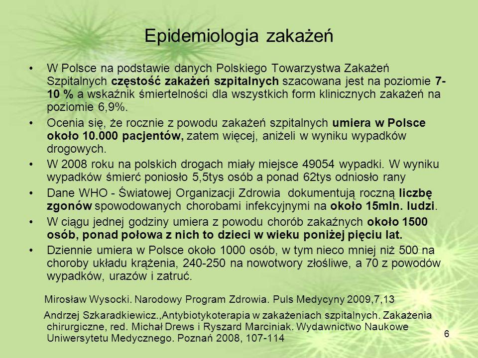 6 Epidemiologia zakażeń W Polsce na podstawie danych Polskiego Towarzystwa Zakażeń Szpitalnych częstość zakażeń szpitalnych szacowana jest na poziomie