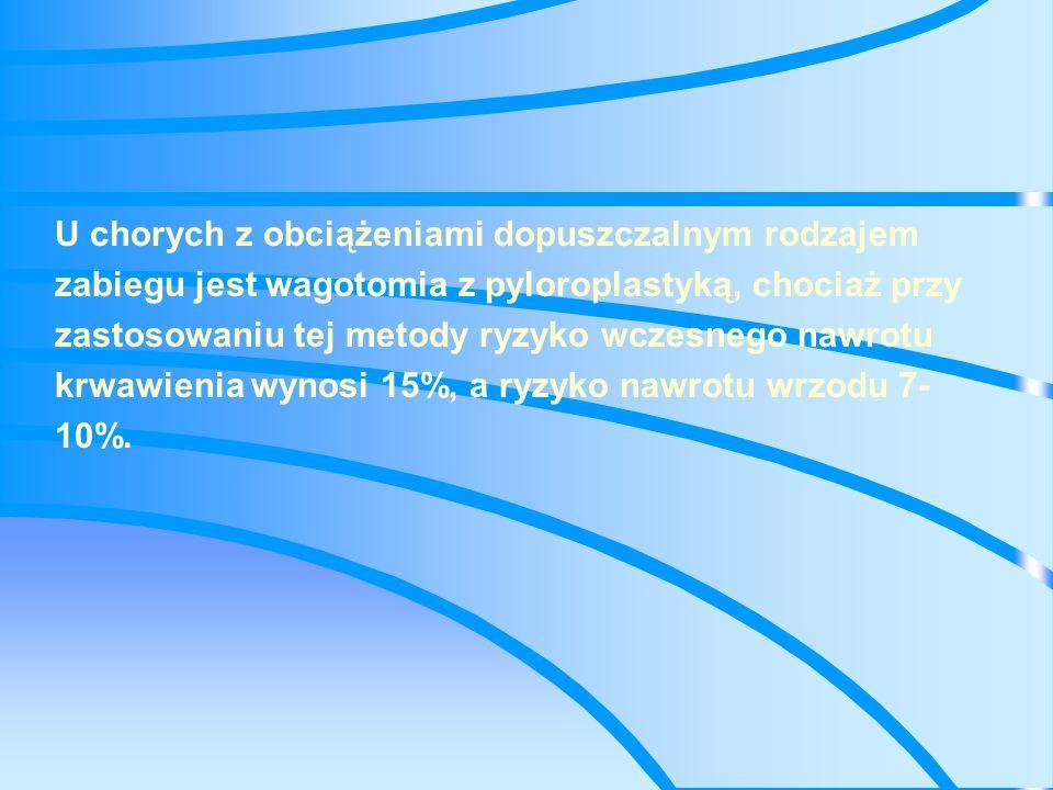 W przypadku chorych z wyrównanym stanem krążenia, chorobą wrzodową w wywiadzie lub z rozległymi zmianami wrzodowymi stwierdzonymi w czasie laparotomii, za operację z wyboru należy uważać wagotomię z antrektomią, ponieważ częstość występowania krwawienia lub nawrotu wrzodu po takim zabiegu wynosi tylko 2%.