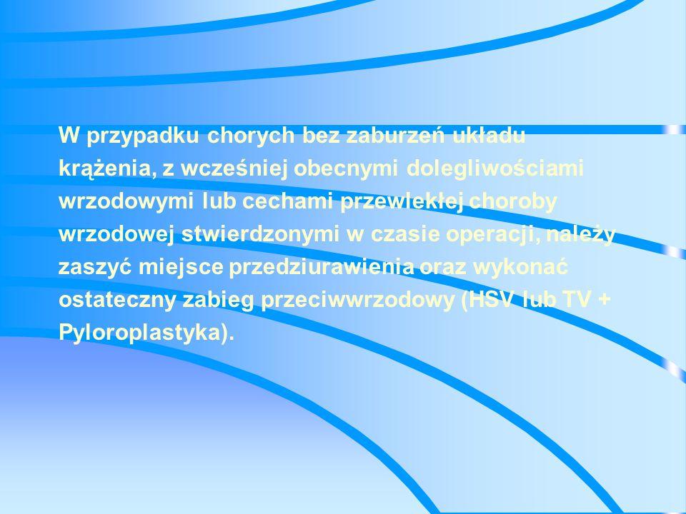 Zwężenie odźwiernika wagotomia całkowita z pyloroplastyką WWW z poszerzeniem od wewnątrz kanału odźwiernika wagotomia całkowita + antrektomia inne częściowe wycięcie żołądka
