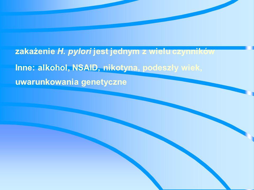 Infekcja helicobakter pylori Związana z 70- 90 % wrzodów XII-cy Ok.