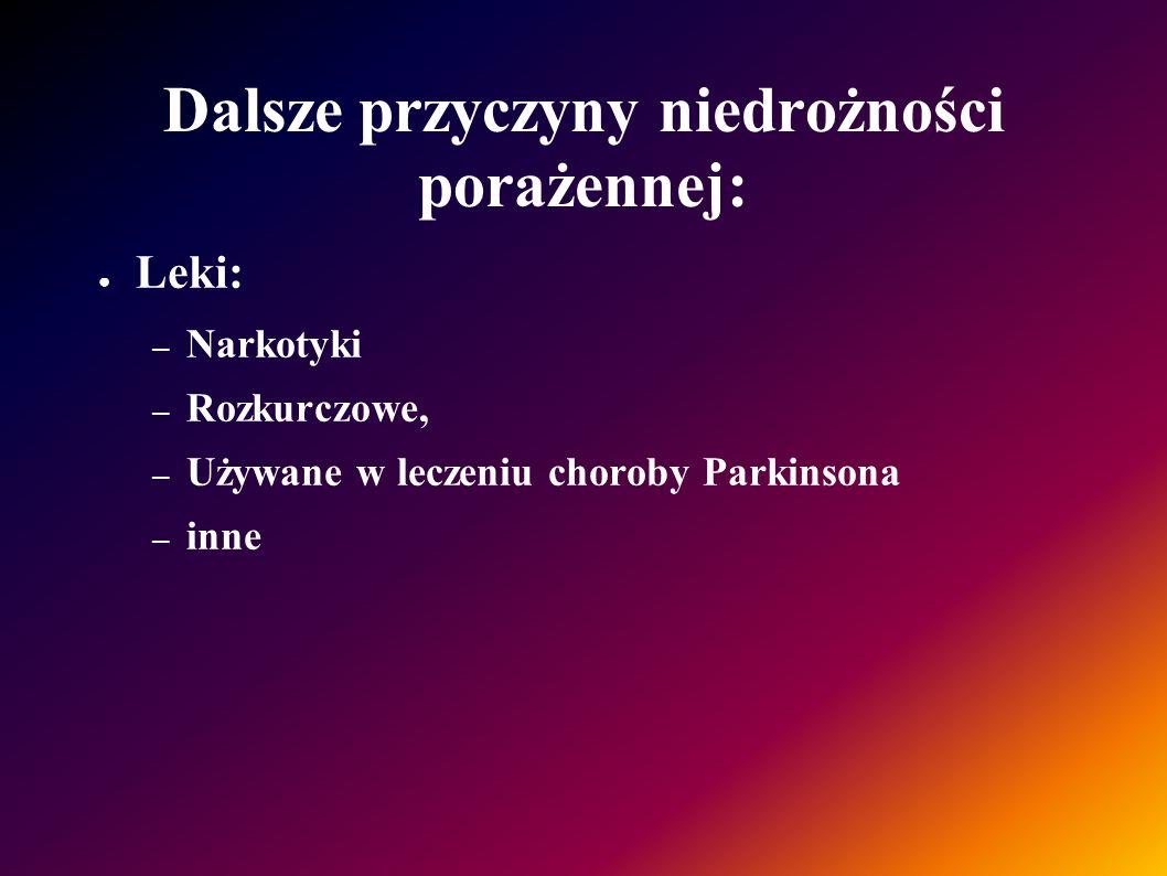 Dalsze przyczyny niedrożności porażennej: Leki: – Narkotyki – Rozkurczowe, – Używane w leczeniu choroby Parkinsona – inne
