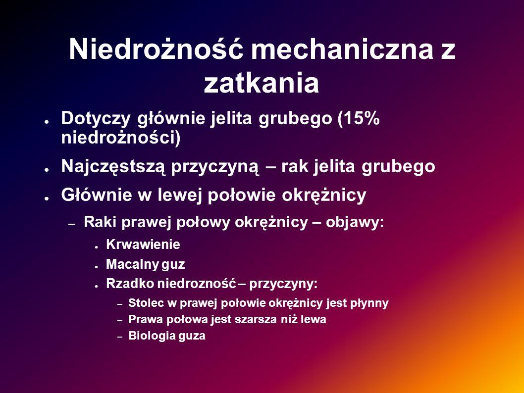 Niedrożność mechaniczna z zatkania Dotyczy głównie jelita grubego (15% niedrożności) Najczęstszą przyczyną – rak jelita grubego Głównie w lewej połowi