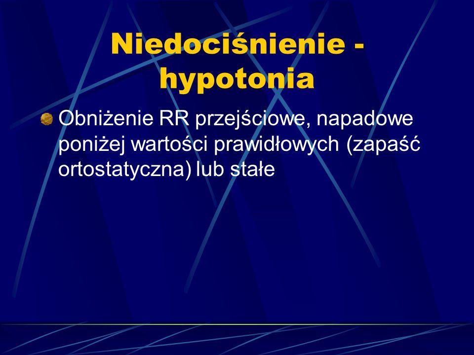 Niedociśnienie - hypotonia Obniżenie RR przejściowe, napadowe poniżej wartości prawidłowych (zapaść ortostatyczna) lub stałe