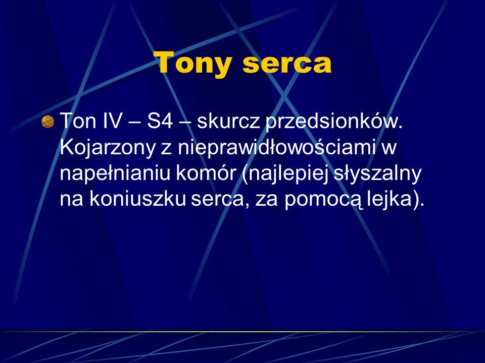 Tony serca Ton IV – S4 – skurcz przedsionków. Kojarzony z nieprawidłowościami w napełnianiu komór (najlepiej słyszalny na koniuszku serca, za pomocą l