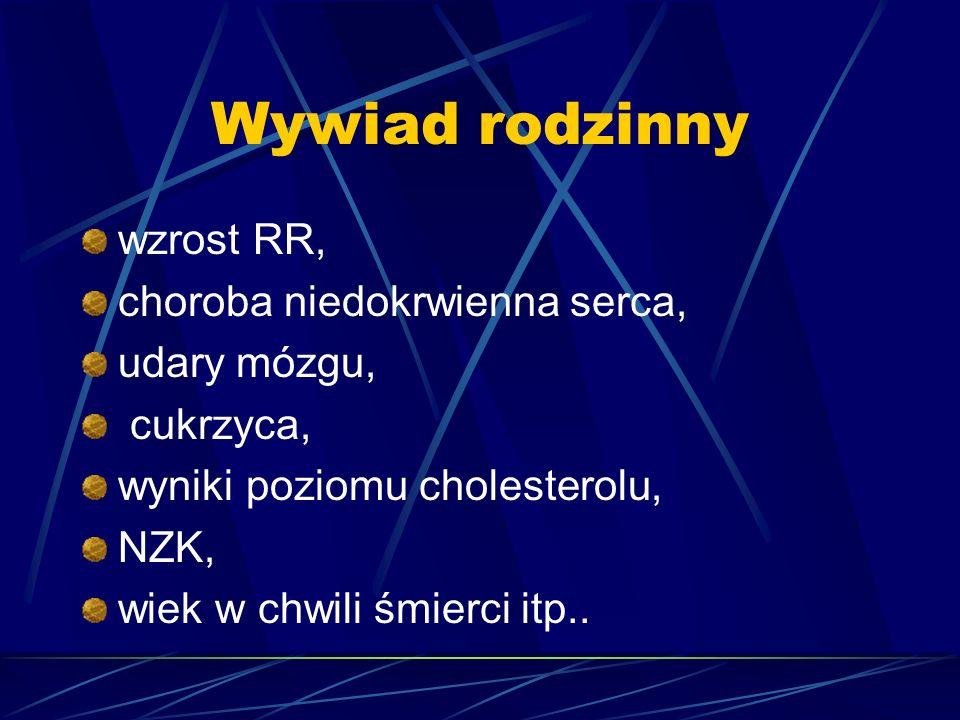 Wywiad rodzinny wzrost RR, choroba niedokrwienna serca, udary mózgu, cukrzyca, wyniki poziomu cholesterolu, NZK, wiek w chwili śmierci itp..