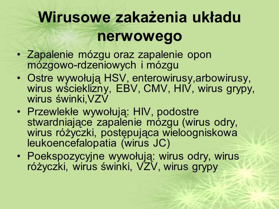 Wirusowe zakażenia układu nerwowego Zapalenie mózgu oraz zapalenie opon mózgowo-rdzeniowych i mózgu Ostre wywołują HSV, enterowirusy,arbowirusy, wirus wścieklizny, EBV, CMV, HIV, wirus grypy, wirus świnki,VZV Przewlekłe wywołują: HIV, podostre stwardniające zapalenie mózgu (wirus odry, wirus różyczki, postępująca wieloogniskowa leukoencefalopatia (wirus JC) Poekspozycyjne wywołują: wirus odry, wirus różyczki, wirus świnki, VZV, wirus grypy