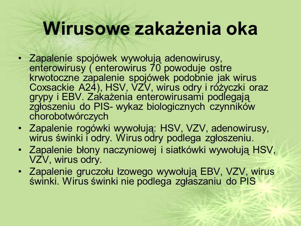 Wirusowe zakażenia oka Zapalenie spojówek wywołują adenowirusy, enterowirusy ( enterowirus 70 powoduje ostre krwotoczne zapalenie spojówek podobnie jak wirus Coxsackie A24), HSV, VZV, wirus odry i różyczki oraz grypy i EBV.