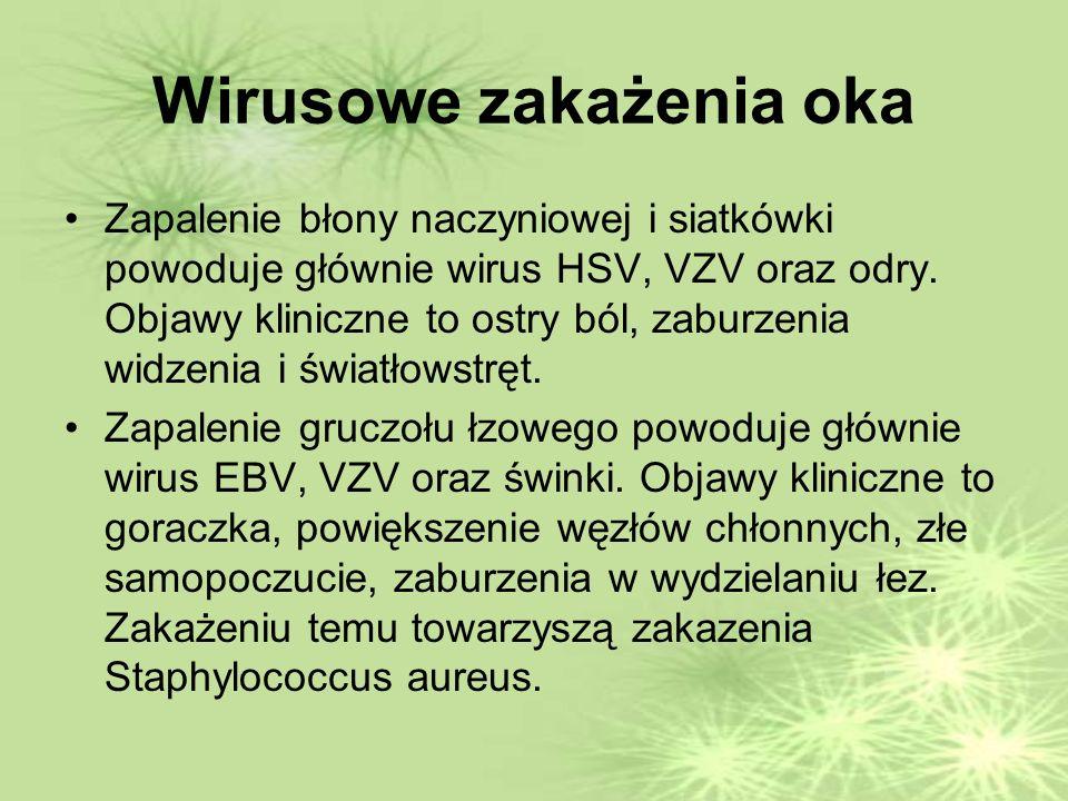 Wirusowe zakażenia oka Zapalenie błony naczyniowej i siatkówki powoduje głównie wirus HSV, VZV oraz odry.
