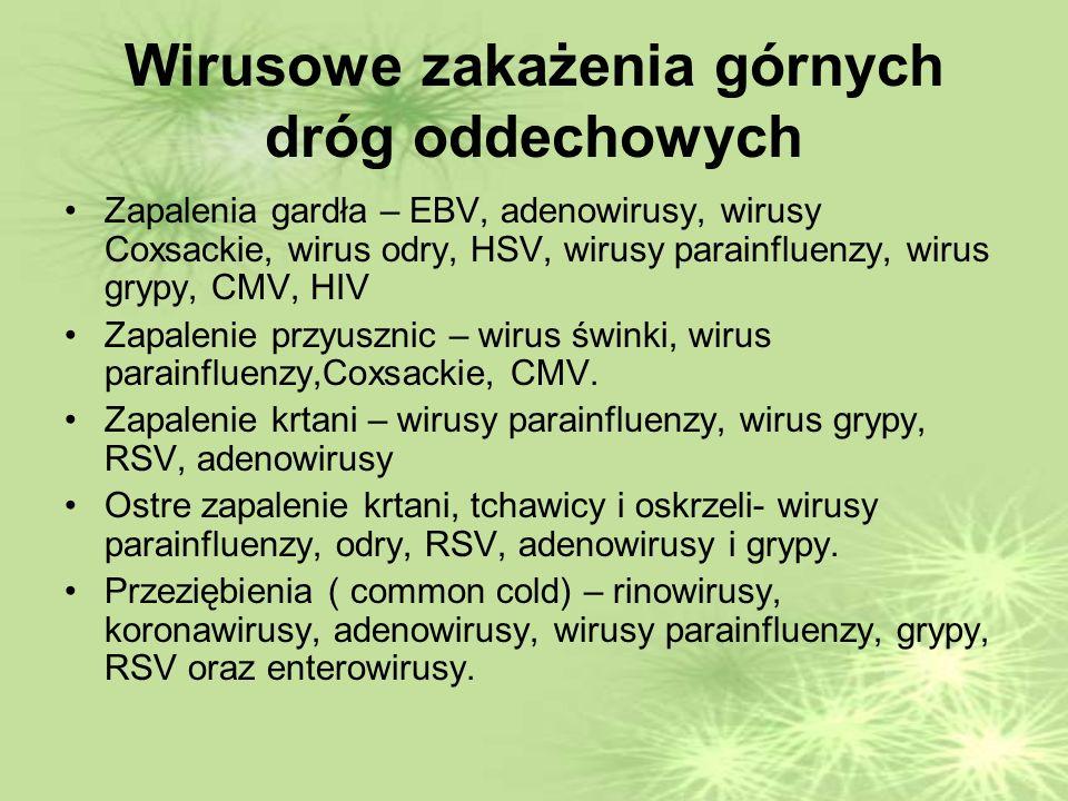 Wirusowe zakażenia górnych dróg oddechowych Zapalenia gardła – EBV, adenowirusy, wirusy Coxsackie, wirus odry, HSV, wirusy parainfluenzy, wirus grypy, CMV, HIV Zapalenie przyusznic – wirus świnki, wirus parainfluenzy,Coxsackie, CMV.