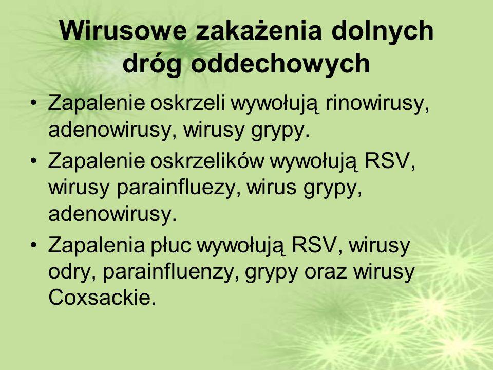 Wirusowe zakażenia dolnych dróg oddechowych Zapalenie oskrzeli wywołują rinowirusy, adenowirusy, wirusy grypy.