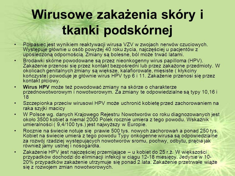 Wirusowe zakażenia skóry i tkanki podskórnej Półpasiec jest wynikiem reaktywacji wirusa VZV w zwojach nerwów czuciowych.