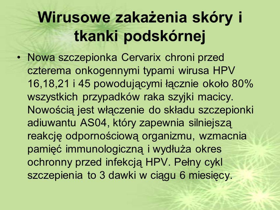 Wirusowe zakażenia skóry i tkanki podskórnej Nowa szczepionka Cervarix chroni przed czterema onkogennymi typami wirusa HPV 16,18,21 i 45 powodującymi łącznie około 80% wszystkich przypadków raka szyjki macicy.