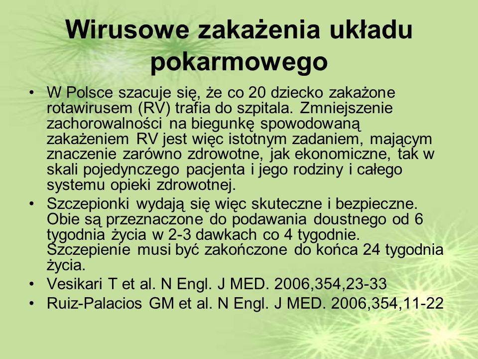 Wirusowe zakażenia układu pokarmowego W Polsce szacuje się, że co 20 dziecko zakażone rotawirusem (RV) trafia do szpitala.