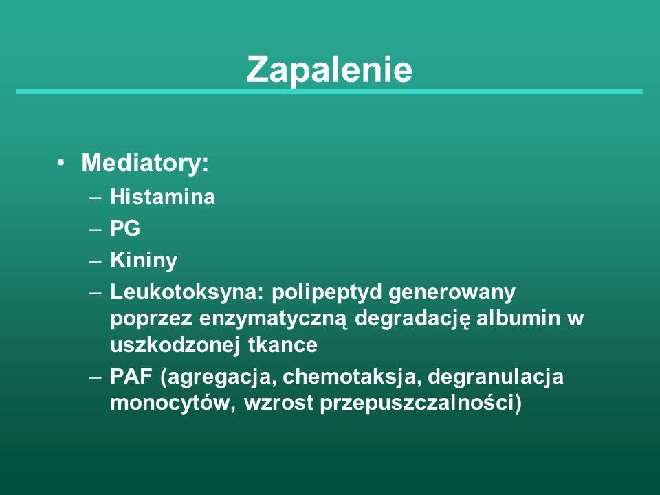 Zapalenie Mediatory: –Histamina –PG –Kininy –Leukotoksyna: polipeptyd generowany poprzez enzymatyczną degradację albumin w uszkodzonej tkance –PAF (ag