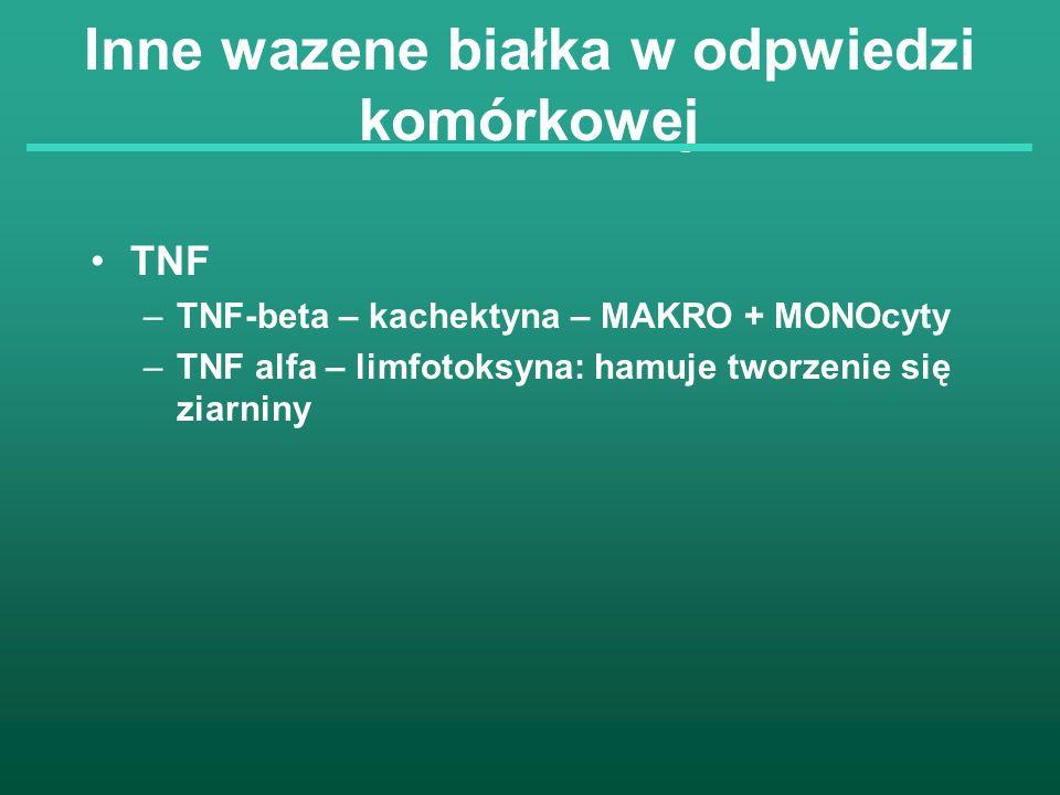 Inne wazene białka w odpwiedzi komórkowej TNF –TNF-beta – kachektyna – MAKRO + MONOcyty –TNF alfa – limfotoksyna: hamuje tworzenie się ziarniny