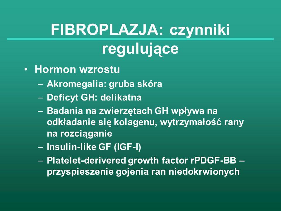 FIBROPLAZJA: czynniki regulujące Hormon wzrostu –Akromegalia: gruba skóra –Deficyt GH: delikatna –Badania na zwierzętach GH wpływa na odkładanie się k