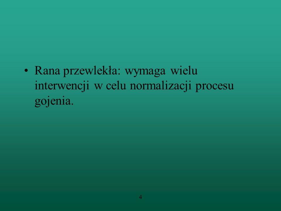 4 Rana przewlekła: wymaga wielu interwencji w celu normalizacji procesu gojenia.