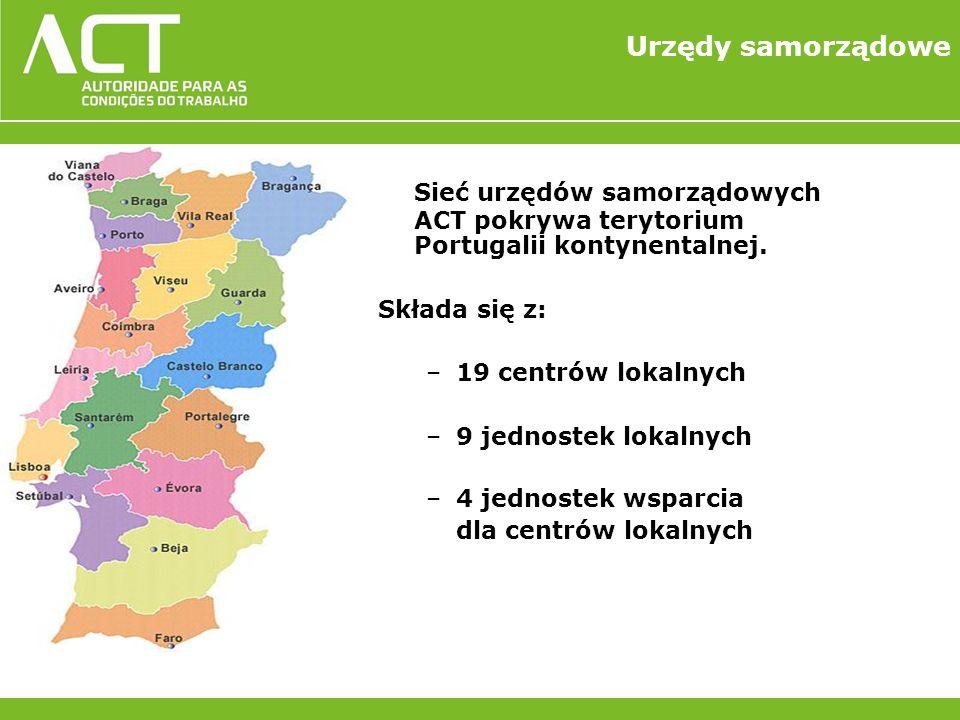 Urzędy samorządowe Sieć urzędów samorządowych ACT pokrywa terytorium Portugalii kontynentalnej.
