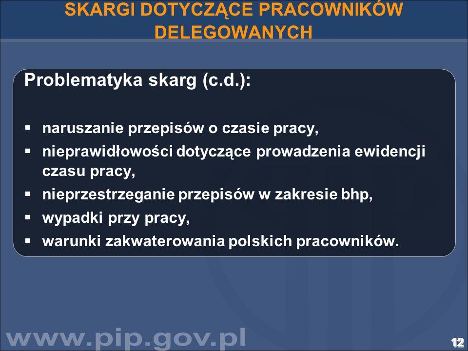 121212121212121212121212121212121212 SKARGI DOTYCZĄCE PRACOWNIKÓW DELEGOWANYCH Problematyka skarg (c.d.): naruszanie przepisów o czasie pracy, niepraw