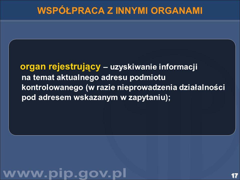 171717171717171717171717171717171717 WSPÓŁPRACA Z INNYMI ORGANAMI organ rejestrujący – uzyskiwanie informacji na temat aktualnego adresu podmiotu kont