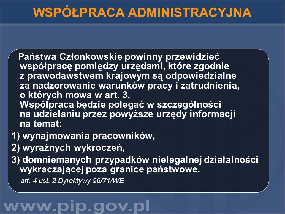 WSPÓŁPRACA ADMINISTRACYJNA Państwa Członkowskie powinny przewidzieć współpracę pomiędzy urzędami, które zgodnie z prawodawstwem krajowym są odpowiedzi