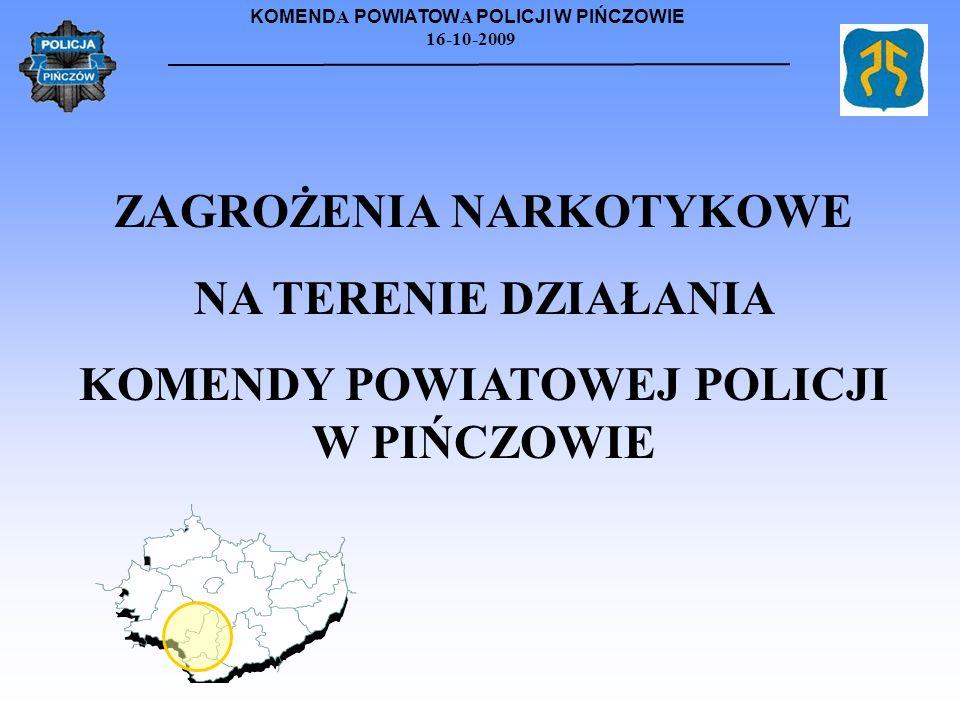 KOMEND A POWIATOW A POLICJI W PIŃCZOWIE 16-10-2009 ZAGROŻENIA NARKOTYKOWE NA TERENIE DZIAŁANIA KOMENDY POWIATOWEJ POLICJI W PIŃCZOWIE