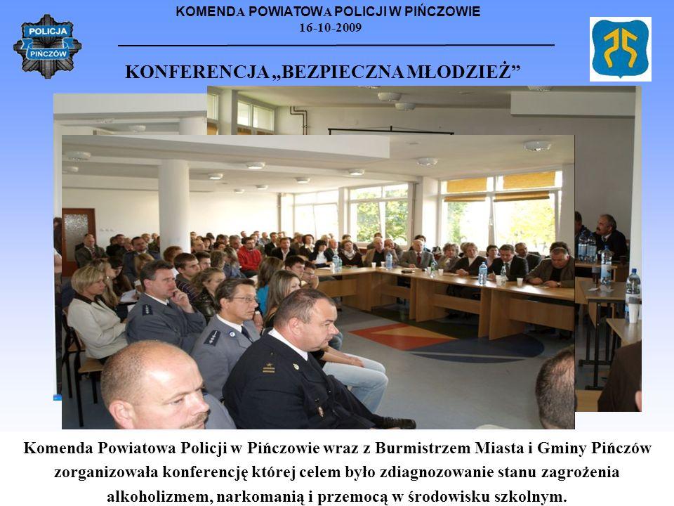 KOMEND A POWIATOW A POLICJI W PIŃCZOWIE 16-10-2009 KONFERENCJA BEZPIECZNA MŁODZIEŻ Komenda Powiatowa Policji w Pińczowie wraz z Burmistrzem Miasta i G