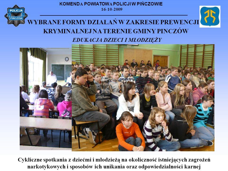 KOMEND A POWIATOW A POLICJI W PIŃCZOWIE 16-10-2009 WYBRANE FORMY DZIAŁAŃ W ZAKRESIE PREWENCJI KRYMINALNEJ NA TERENIE GMINY PINCZÓW EDUKACJA DZIECI I M