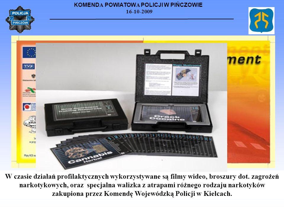 KOMEND A POWIATOW A POLICJI W PIŃCZOWIE 16-10-2009 W czasie działań profilaktycznych wykorzystywane są filmy wideo, broszury dot. zagrożeń narkotykowy