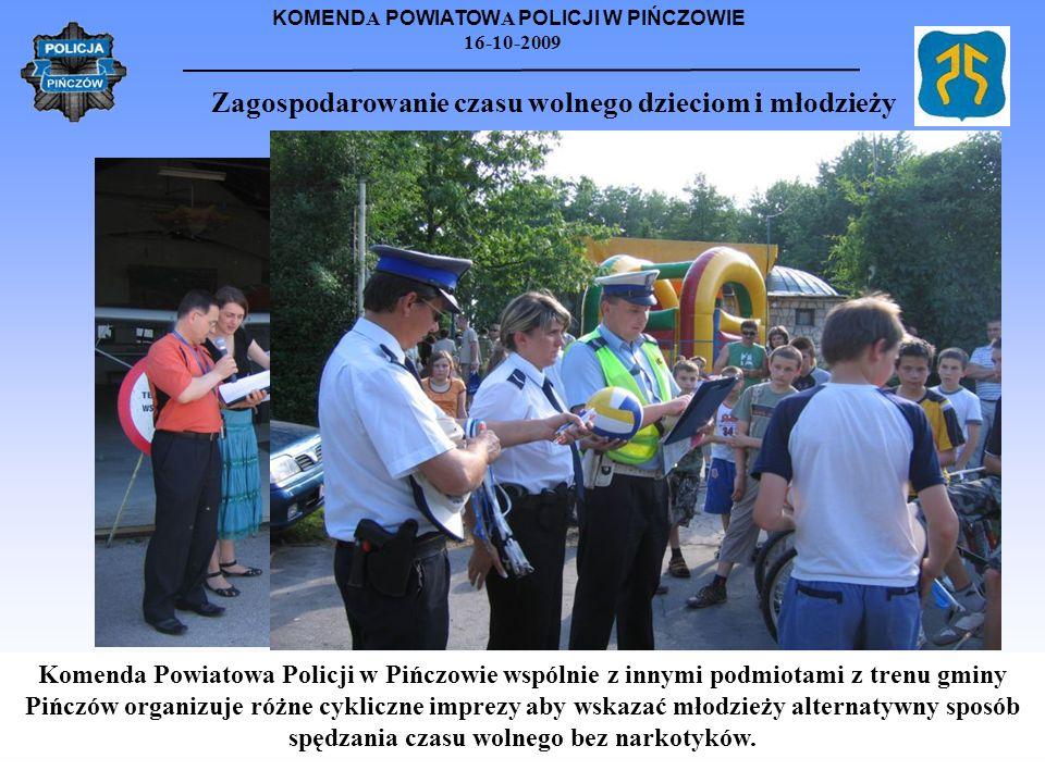 KOMEND A POWIATOW A POLICJI W PIŃCZOWIE 16-10-2009 Zagospodarowanie czasu wolnego dzieciom i młodzieży Komenda Powiatowa Policji w Pińczowie wspólnie