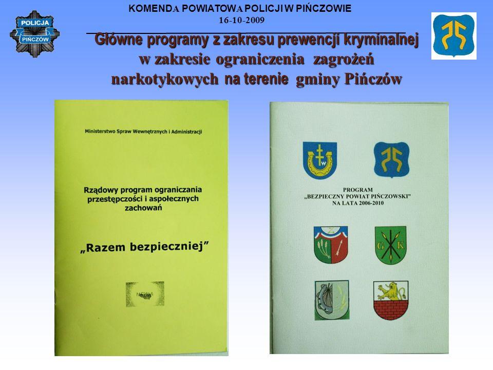 KOMEND A POWIATOW A POLICJI W PIŃCZOWIE 16-10-2009 Główne programy z zakresu prewencji kryminalnej w zakresie ograniczenia zagrożeń narkotykowych na t