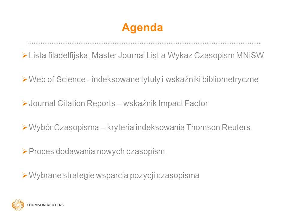Agenda Lista filadelfijska, Master Journal List a Wykaz Czasopism MNiSW Web of Science - indeksowane tytuły i wskaźniki bibliometryczne Journal Citati