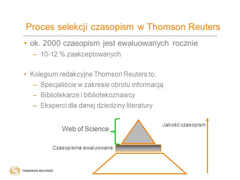 Proces selekcji czasopism w Thomson Reuters ok. 2000 czasopism jest ewaluowanych rocznie –10-12 % zaakceptowanych Kolegium redakcyjne Thomson Reuters