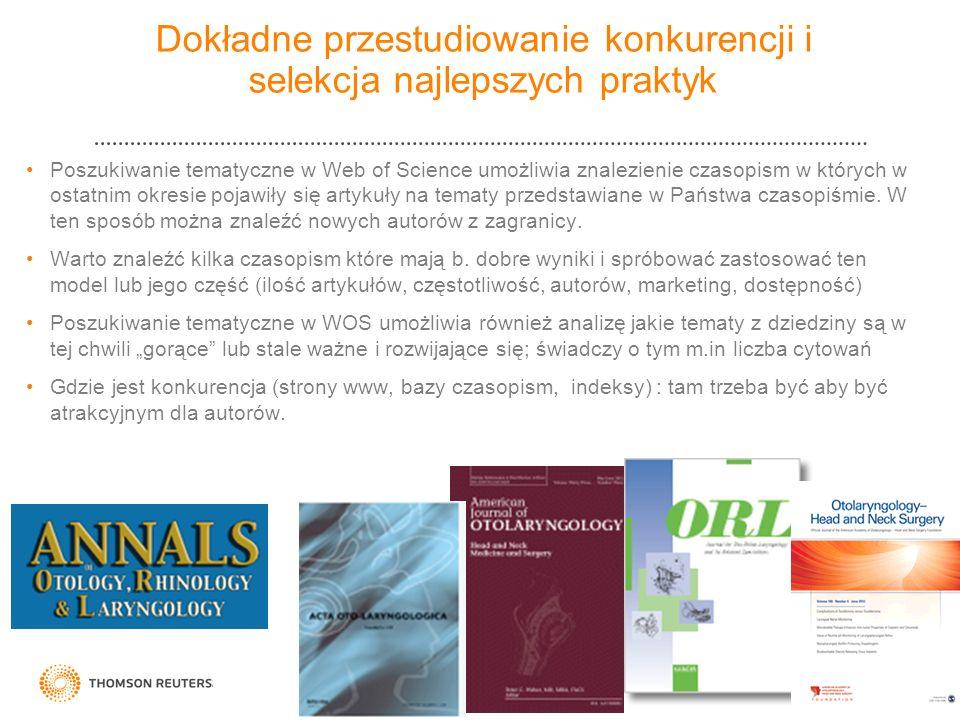 Dokładne przestudiowanie konkurencji i selekcja najlepszych praktyk Poszukiwanie tematyczne w Web of Science umożliwia znalezienie czasopism w których