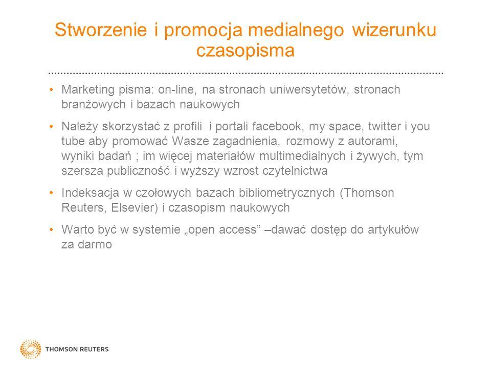 Stworzenie i promocja medialnego wizerunku czasopisma Marketing pisma: on-line, na stronach uniwersytetów, stronach branżowych i bazach naukowych Nale